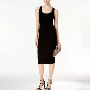 Michael Kors Black Ripped Sleeveless midi dress